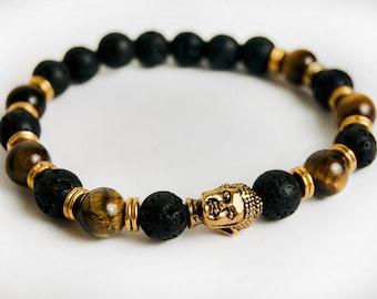 Genuine Tiger's Eye and Lava Buddha Bracelet