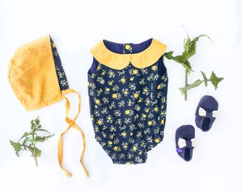 Navy and mustard floral Cotton Romper, navy and mustard, handmade baby outfit, peter pan collar, 100% cotton,  babywear, babyshower gift