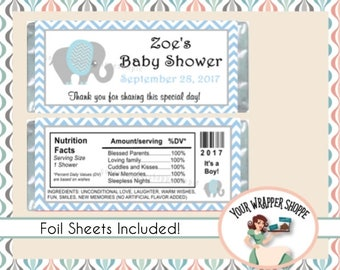 Printed and Shipped!  Elephant Chevron Blue Baby Shower - Candy Bar Wrappers with Foil Sheets - Party Favors Custom Personalized It's a Boy!