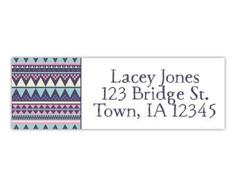 Return address label, tribal print, personalized return label, custom address label, envelope label, mailing address label