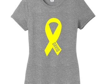 Custom Awareness Ribbon - Cancer Disease Support Name Women's Fitted T-Shirt