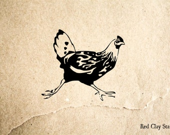 Chicken Running Rubber Stamp - 2 x 2 inches