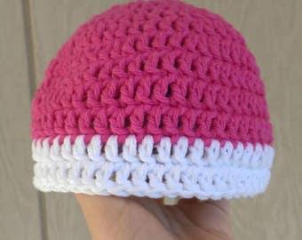 100% Cotton Handmade Crochet Pink and White Baby Beanie