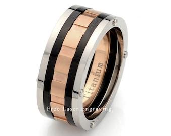 Titanium Wedding Band, Mens Wedding Ring, Titanium Ring, Rose Gold Plated Titanium Wedding Band Custom Engraving, Black Ceramic Wedding Band