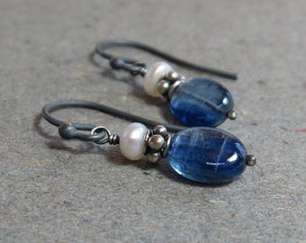 Kyanite Earrings White Pearls Blue Gemstones Oxidized Sterling Silver Gift for Her Gift for Wife
