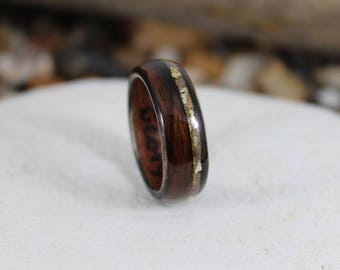Wooden Ring - Ebony & Olive with a Gold Dust.  Handmade Bent Wood Rings For Men or Women. Wood Wedding Bands, Wood Engagement Ring