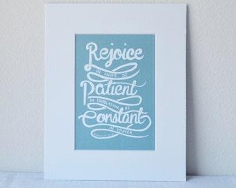 Romans 12:12 Bible Verse Art Print 5x7 Digital Wall Art Gift