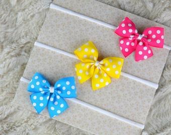 SET of baby headbands, Nylon Headband, Baby Girl Headbands, Small Bows, Nylon Headbands, Baby Bows, Pink, Yellow, Blue, spotted bows,