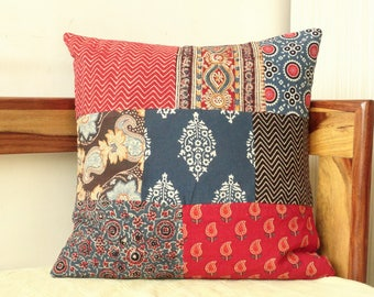Block Print Pillow cover in Indigo,Red and Black, Patchwork cushion covers, Indigo home decor