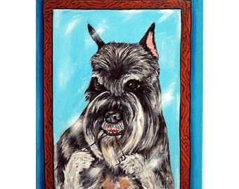25% off Schnauzer Flossing Dog Art Print