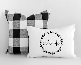 Pillow Cover - Farmhouse Pillow - Housewarming Gift - Home Decor - Throw Pillows - Welcome