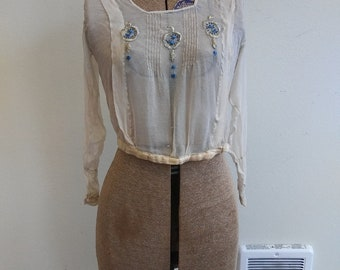As-is 1910s sheer silk embroidered blouse // xs