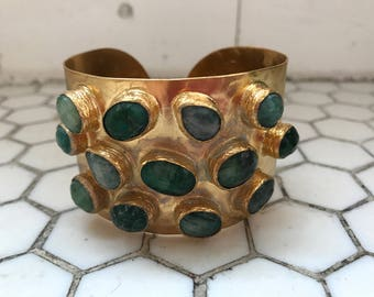 Emerald Jade Colored Glass Stones Jeweled Gold Metal Cuff