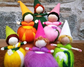Spring nature table, Waldorf spring gnomes, felted flower pixies, secret bunny doll, fret me not doll, baby flower fairy, flower baby dolls