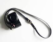 Slim leather camera strap / adjustable camera strap - adjustable (Black)