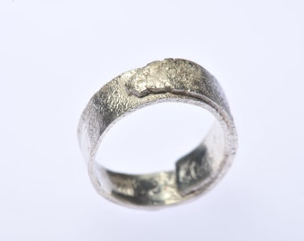 Fused, wrapped, reticulated silver ring