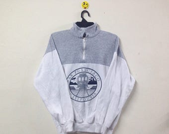Vintage 80s San Francisco California Sweatshirt Half Zipper Two Tone