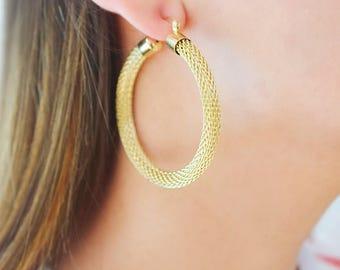 Large Gold Hoop Earrings/ Gold Mesh Hoop Earrings/ Big Gold Hoop Earrings/ Round Gold Hoops/ Big Gold Hoops/ Mesh Gold Hoops/ Big Hoops