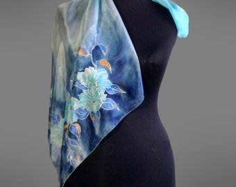 Hand painted silk scarf. Square silk scarf. Turquise floral scarf. Turquoise silk scarf. 27x27 in (70x70 cm). Made to order.