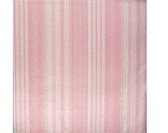 Set of 3 napkins HOD020 pink and white stripes