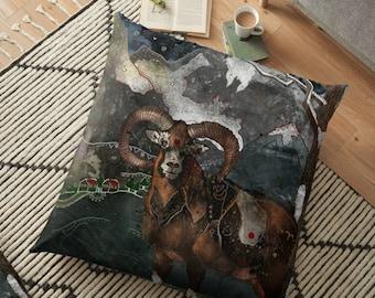 Aries the Ram, Pillow, Aries Pillow, Ram Pillow, Animal Pillow, Winter Pillow, Whimsical, Aries Gifts, Aries Sign, Zodiac, Christmas Gift