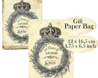 Lavender Gift Paper Bag & Card Envelope Instant Download digital collage sheet Vintage Paper H112