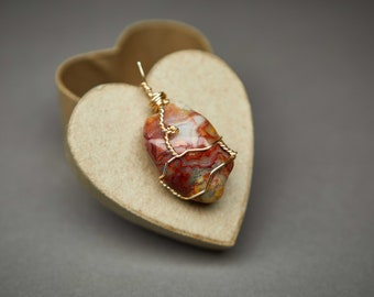 Handmade Wire-Wrapped Necklace Inspired by Nature; Crazy Lace Agate