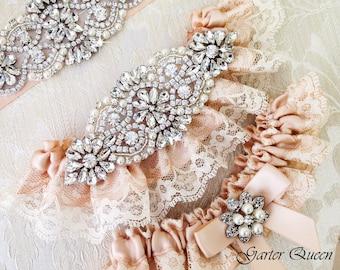 Blush Wedding Garter Set, Ivory Lace Garter Set, Wedding Garter Set, Bridal garter Set, Rhinestone Garter, Lace Wedding Garter