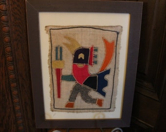 "Framed 14.5"" by 18.5"" Fiber Art Dancing Bird on Burlap - Estate Find, Native American?, Aztec?, Peruvian?"