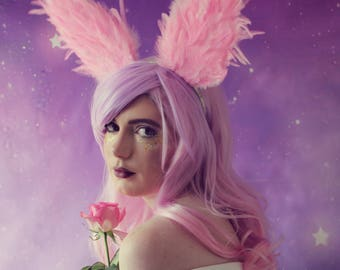 Pink rabbit feather ears, dressing up ears