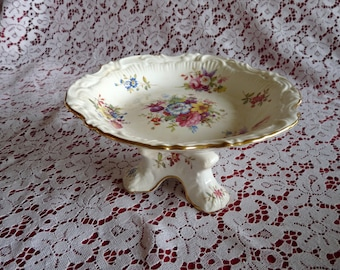 Hammersley ENGLAND~Floral Pedestal Compote Tazza Dish for Candy BonBon Nuts..Rococo Edging with Gold Trim