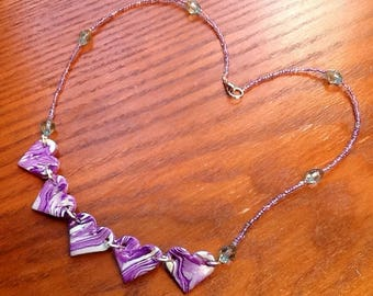 Polymer clay necklace marbled hearts