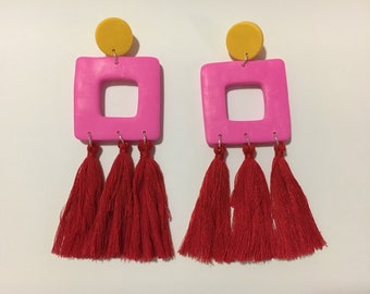Large polymer clay tassel earrings / tassel earrings / polymer clay / dangles / statement earrings / pink and red tassel dangles