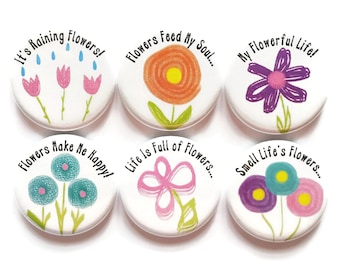 Magnets Quote Magnets Lifestyle Flowers Magnets It's Raining Flowers Fridge Magnets Inspirational Magnets Refrigerator Magnets, 6/Set
