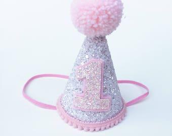 First Birthday Hat Pink | 1st Birthday | Baby birthday | White Glitter hat | girls birthday party | smash cake hat | First Birthday party