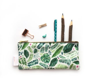 Jungle Print, Tropical, Pencil Case, Pouch, Zipper Bag, Make Up Bag, Cosmetic Bag, Small Bag, Floral, Essentials Bag, Stationery, Purse,