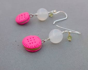 Cookie Earrings - Hot Pink Earrings with White Agate, Peridot and Sterling Silver
