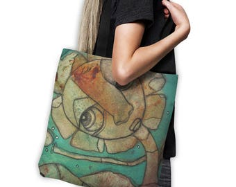 Abstract Art Face Tote Bag teal tote bag art beach bag original art tote artist tote funky computer bag gym bag grocery bag school bag art