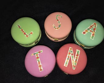 Floral Initial Macaron Jewelry Box