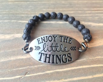 Enjoy The Little Things Lava Stone Essential Oil Diffuser Bracelet, Aromatherapy Jewelry, Lava Bead