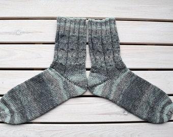 Thick wool socks Women knitted socks Hand knit boot socks Women warm socks Striped womens socks