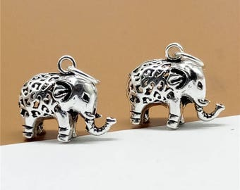 2 Sterling Silver Elephant Charms, 925 Sterling Silver Elephant Pendant, 925 Silver Hollow Elephant Charms, Little Elephant Charms - TF70