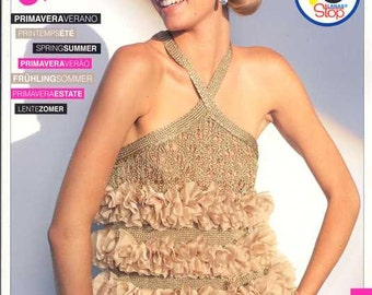 Knitting Patterns, Lanas Stop, Publication No 121, Pattern Magazine written in 4 languages: English, Spanish, French, and Portuguese