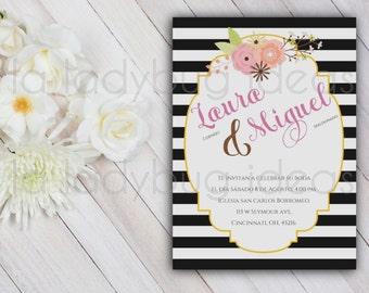 Floral and Stripes Printable Bridal Shower Invitation, Black and White Stripes Bridal Shower Invitation, Wedding Invitation
