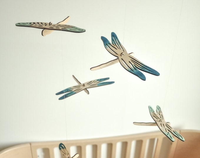 Dragonfly mobile - wooden mobile - nursery mobile