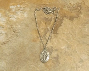 Pewter Miraculous Medal  Necklace on a  Link  Chain - Free Shipping in the US - (1188)