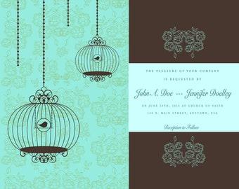 Wedding Invitation - Birdcages- Aqua