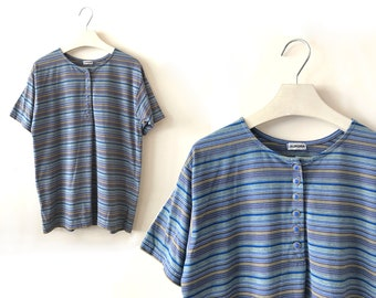 """80s normcore T-shirt, size L / XL """"Carla"""", vintage striped tee, blue striped t-shirt, daily basic t-shirt, us size 12 14, 1980s clothing"""