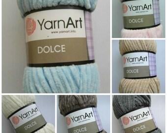 7colors - YarnArt Dolce Yarn - Micro Polyester, perfect for amigurumi 100g per ball, plush yarn