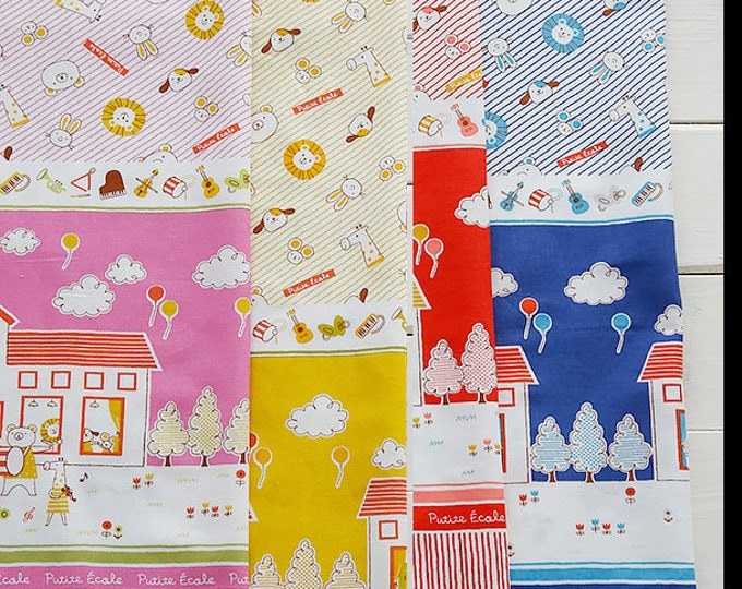 Border Fabric - K10700-700 - Petite Ecole Animals -Japanese Cotton - select length and color